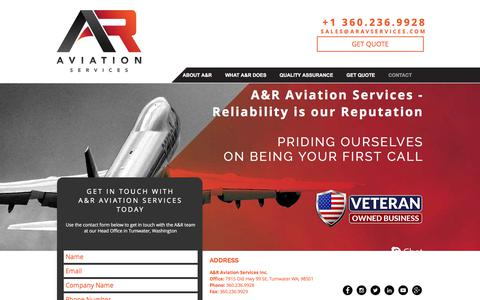 Screenshot of Contact Page aravservices.com - A&R Aviation Services | CONTACT - captured Sept. 29, 2017