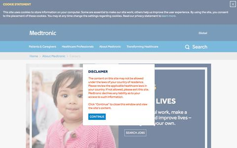 Screenshot of Jobs Page medtronic.com - Careers - captured Feb. 20, 2018
