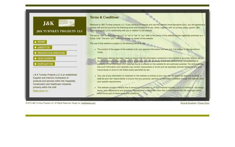 Screenshot of Terms Page jkprojects.ae - J & K  Projects Turnkey Projects Supplier and Interiors Contractors in Dubai - Terms & Conditions - captured Oct. 3, 2014