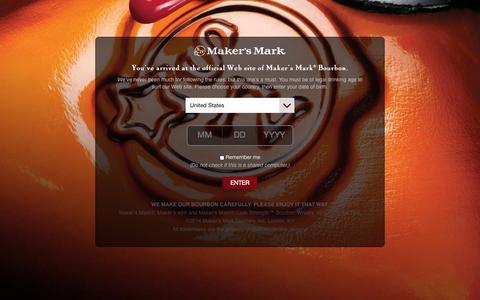 Screenshot of Home Page makersmark.com - Home | Maker's Mark® Kentucky Straight Bourbon Handmade Whisky - captured Sept. 19, 2014