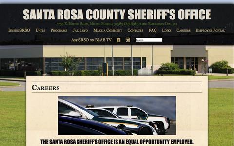 Screenshot of Jobs Page santarosasheriff.org - CareersSanta Rosa County Sheriff's Office | Santa Rosa County Sheriff's Office - captured April 27, 2016