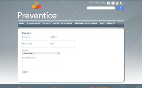 Screenshot of Support Page preventice.com - Online Support - captured Sept. 12, 2014