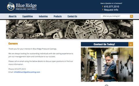 Screenshot of Jobs Page blueridgediecasting.com - Careers – Blue Ridge Pressure Castings - captured Oct. 6, 2018
