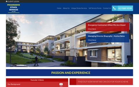 Screenshot of Home Page prostrata.com.au - Strata Management Company Sydney - Progressive Strata Services - captured Sept. 30, 2018