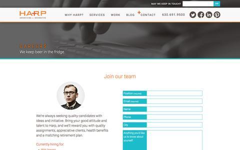 Screenshot of Jobs Page harpinteractive.com - Careers   Harp Advertising + Interactive - captured May 11, 2017