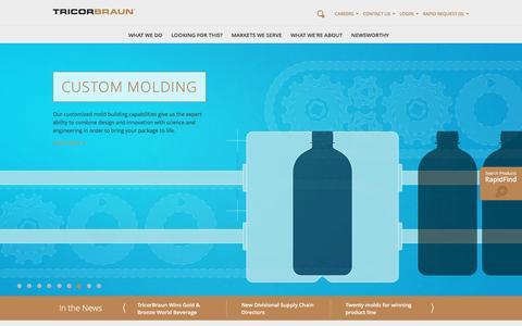 Screenshot of Home Page tricorbraun.com - Rigid Packaging, Industrial Packaging, Packaging Supplier   TricorBraun - captured Jan. 17, 2016