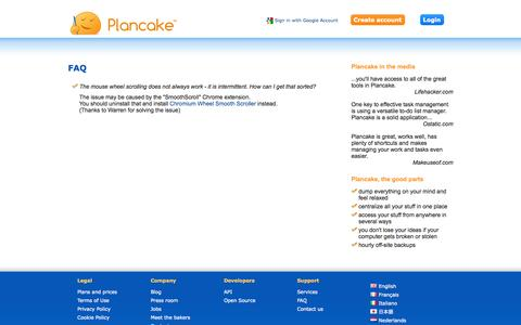 Screenshot of FAQ Page plancake.com - Plancake - Online project manager and todo list with GTD - captured Oct. 31, 2014