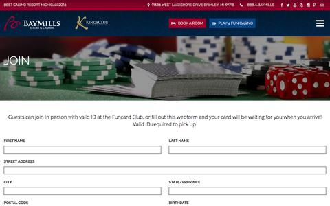 Screenshot of Signup Page baymillscasinos.com - Join - Bay Mills Resort & Casinos - captured Oct. 10, 2017
