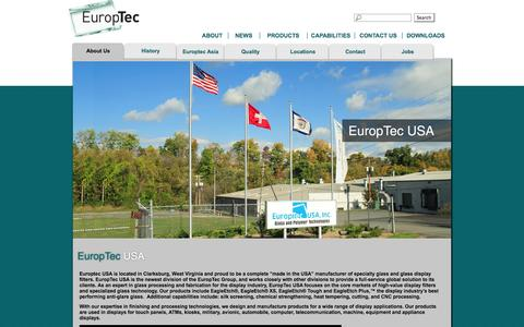 Screenshot of About Page europtecusa.com - About Us    Europtec USA Inc.   About Us   Glass and Polymer Technologies - captured Oct. 3, 2014
