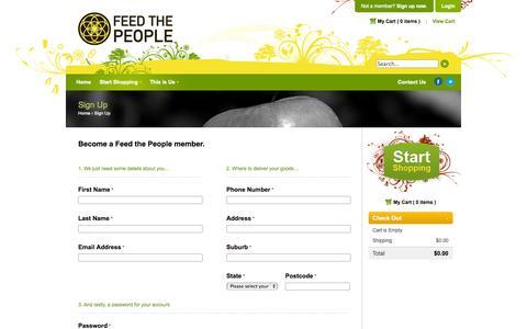 Screenshot of Signup Page foodcoup.com.au - Feed The People - Quality Earth Food - captured Sept. 30, 2014