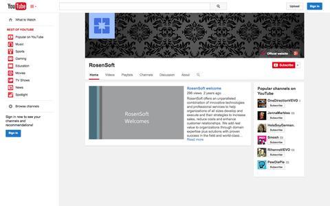 Screenshot of YouTube Page youtube.com - RosenSoft  - YouTube - captured Oct. 26, 2014