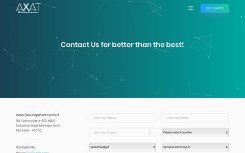 Screenshot of Contact Page axattechnologies.com - Contact Us | AXAT Technologies - captured Jan. 8, 2020