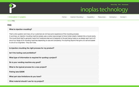 Screenshot of FAQ Page inoplas.co.uk - Plastic Injection Mouldings | Inoplas | FAQ - captured Nov. 26, 2016