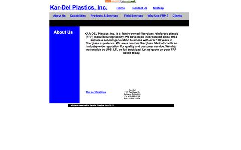 Screenshot of About Page kar-delplastics.com - KarDel Fiberglass FRP About Us - captured Oct. 6, 2014