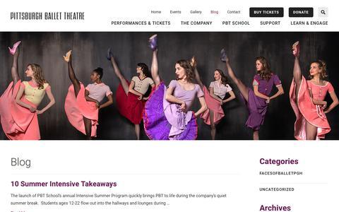 Screenshot of Blog pbt.org - Pittsburgh Ballet Theatre Blog - captured Aug. 1, 2017