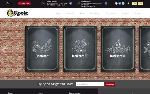 Screenshot of Menu Page rootz.nl - Café-Restaurant Rootz | Menu - captured Jan. 24, 2016