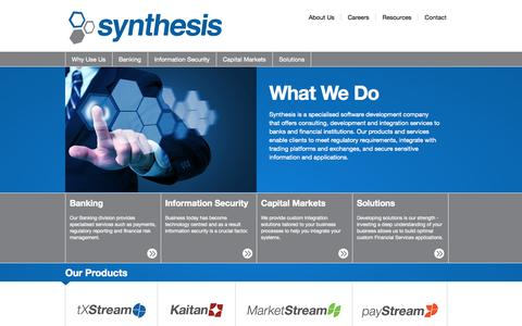 Screenshot of Home Page synthesis.co.za - Specialised Software Development | Synthesis - captured Oct. 7, 2014