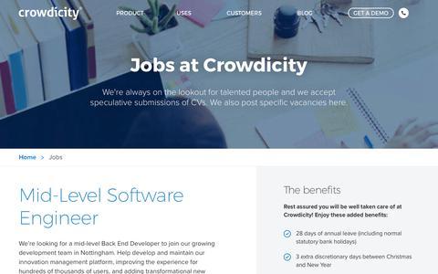 Screenshot of Jobs Page crowdicity.com - Jobs | Crowdicity - captured Sept. 30, 2018