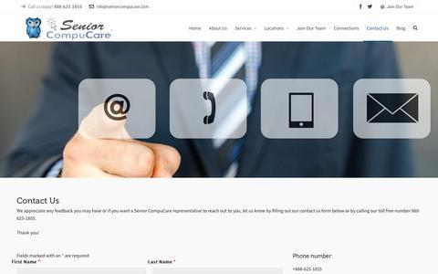 Screenshot of Contact Page seniorcompucare.com - Contact Us | Senior CompuCare | 888-625-1866 | Your Computer Experts! - captured Oct. 18, 2018