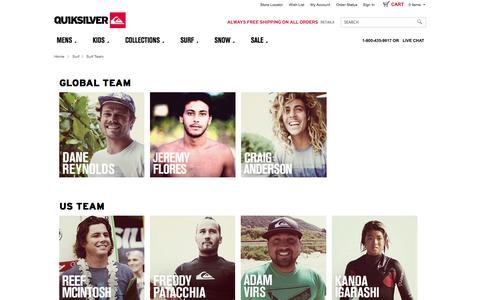 Screenshot of Team Page quiksilver.com - Surf Community - Quiksilver Team - Quiksilver - captured Sept. 18, 2014