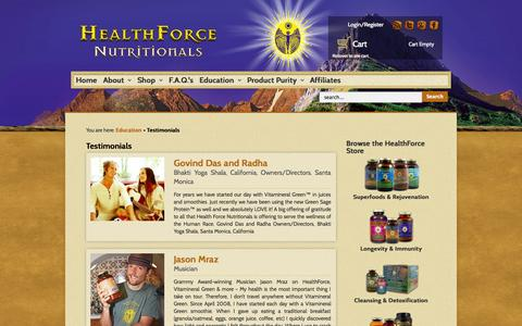 Screenshot of Testimonials Page healthforce.com - Testimonials | HealthForce - captured Sept. 19, 2014