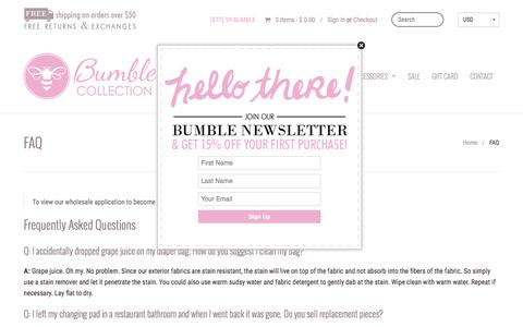Screenshot of FAQ Page bumblecollection.com - Diaper Bags, Baby Bags, Lunch Bags | Bumble Collection - captured Dec. 4, 2016