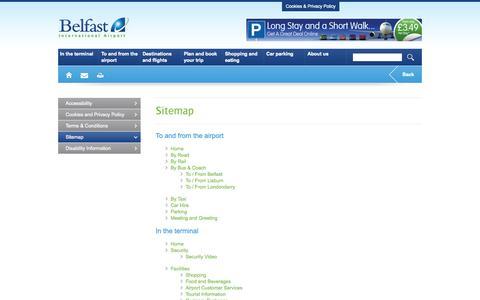 Screenshot of Site Map Page belfastairport.com - Sitemap - Belfast International Airport - captured Sept. 25, 2014