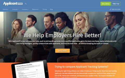 Screenshot of Home Page applicantpro.com - ApplicantPro: Applicant Tracking System & Hiring Software - captured March 29, 2019