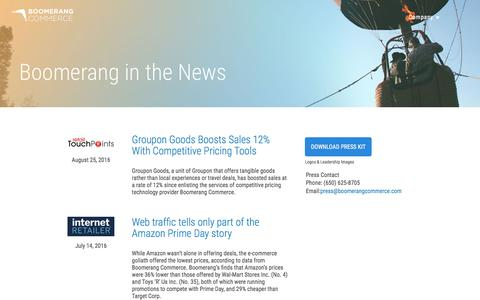 Screenshot of Press Page boomerangcommerce.com - News — Boomerang Commerce - captured Sept. 22, 2016