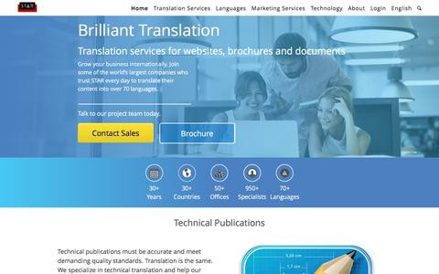 Screenshot of Home Page star-ts.com - Translation Services | Document Translation | STAR Dublin - captured Feb. 2, 2016