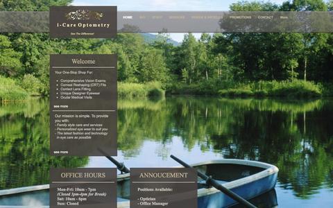 Screenshot of Home Page icareoptometry.com - icareoptometry - captured Sept. 30, 2014