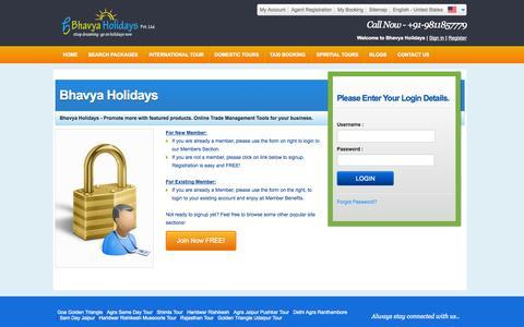 Screenshot of Login Page bhavyaholidays.com - Frontend-Login - captured Sept. 19, 2014