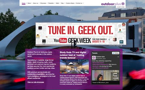 Screenshot of Home Page outdoorplus.co.uk - Outdoorplus Outdoor Media Owner - captured Sept. 30, 2014