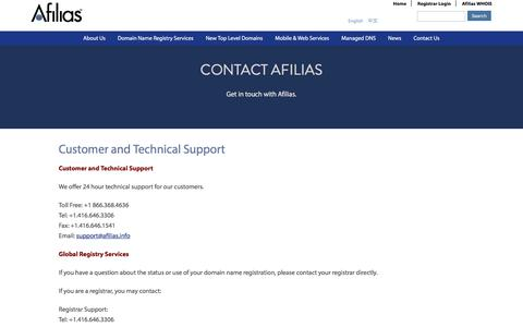 Screenshot of Support Page afilias.info - Customer and Technical Support | Afilias - captured May 29, 2017