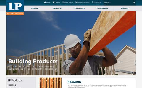 Screenshot of Products Page lpcorp.com - Construction Products | Engineered Wood Products | LP Building Products - captured June 27, 2017