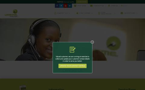 Screenshot of Contact Page umeme.co.ug - Contact | Umeme - captured Oct. 19, 2018