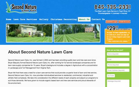 Screenshot of About Page secondnaturelawncare.com - Lawn service, tree and shrub care serving Rockland, Westchester, Orange NY and Bergen NJ - captured Oct. 6, 2014
