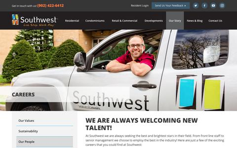 Screenshot of Jobs Page southwest.ca - Careers | Southwest Properties - captured Nov. 8, 2017