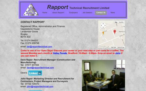 Screenshot of Contact Page rapporttechnical.com - Contact Rapport Technical Recruitment - captured Oct. 7, 2014