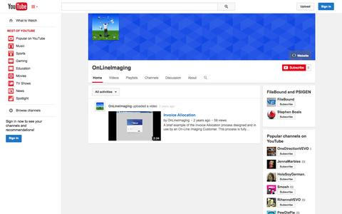 Screenshot of YouTube Page youtube.com - OnLineImaging  - YouTube - captured Oct. 26, 2014