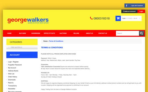 Screenshot of Terms Page georgewalkers.co.nz - Terms & Conditions - captured Sept. 28, 2018