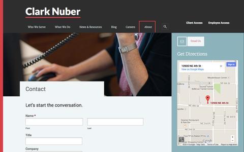 Screenshot of Contact Page clarknuber.com - Contact - captured Sept. 29, 2014