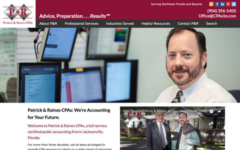 Screenshot of Home Page cpasite.com - Patrick & Raines, Jacksonville CPA & Tax Accounting Firm - captured Sept. 27, 2018