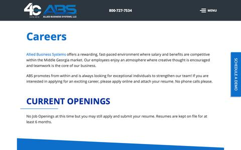 Screenshot of Jobs Page alliedbiz.com - ABS Careers | Allied Business Systems, LLC - captured Oct. 3, 2018