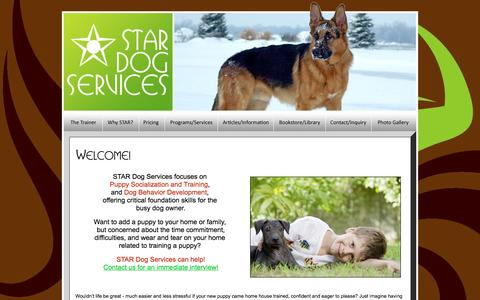 Screenshot of Home Page stardogservices.com - STAR Dog Services - Puppy Socialization and Foundation Training, Dog Behavior Development - captured Feb. 3, 2016