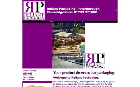 Screenshot of Home Page reliantpackaging.co.uk - packaging,cartons,print,peterborough,cambridgeshire - captured Oct. 9, 2014