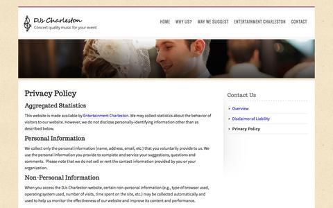 Screenshot of Privacy Page djscharleston.com - DJs Charleston – Privacy Policy - captured Jan. 1, 2017
