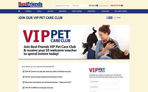 Screenshot of Signup Page bestfriendspets.com.au - Join our VIP Pet Care Club | Best Friends Pet SuperCentre - captured Feb. 7, 2016