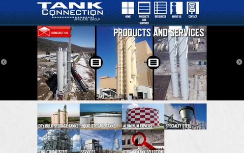Screenshot of Products Page tankconnection.com - Products and Services | Storage Tanks : Dry Bulk Tank, Potable Water Tank, Steel Tank, and Chemical Storage Tank | Tank Connection - captured Aug. 17, 2015