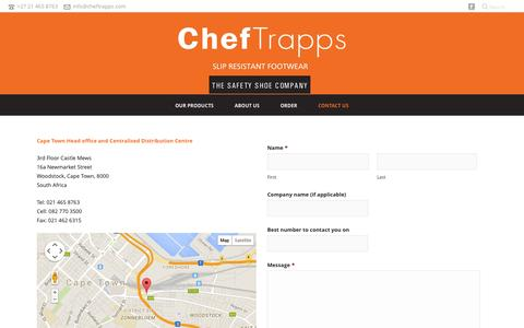 Screenshot of Contact Page cheftrapps.com - ChefTrapps – Slip Resistant Footwear   –  CONTACT US - captured Oct. 28, 2014